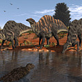 Ouranosaurus Drink At A Watering Hole by Walter Myers