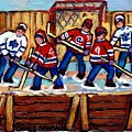 Pointe St Charles Hockey Rink Painting Leafs Vs Habs Quebec Winter Scene Hockey Art Carole Spandau by Carole Spandau