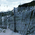 Outer Banks Nc Blue Fence by Oscar Duran