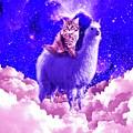 Outer Space Galaxy Kitty Cat Riding On Llama by Random Galaxy