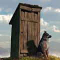 Outhouse Guardian - German Shepherd Version by Daniel Eskridge