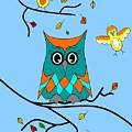 Owl And Birds - Whimsical by Kathleen Sartoris