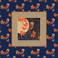 Owl And Moon On Midnight Blue by Nancy Lee Moran