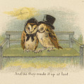 Owl Couple On Bench by Artist from the past