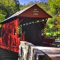 Pa Country Roads - Ebenezer Covered Bridge Over Mingo Creek No. 2a - Autumn Washington County by Michael Mazaika