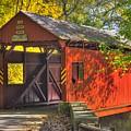 Pa Country Roads - Henry Covered Bridge Over Mingo Creek No. 3a - Autumn Washington County by Michael Mazaika