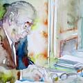 Pablo Neruda - Watercolor Portrait.8 by Fabrizio Cassetta