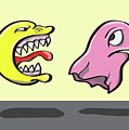 Pac Man And Ghost Illustration by Jorgo Photography - Wall Art Gallery