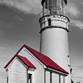 Pacific Coastal Lighthouse In Creative Black And White by Debra and Dave Vanderlaan