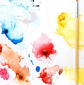 Paint Splatters And Paint Brush by Chris Knorr