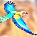 Painted Birds In Skyline by Catherine Lott