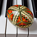 Painted Easter Egg On Piano Keys by Garry Gay