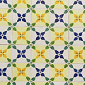 Painted Patterns - Floral Azulejo Tiles In Blue Green And Yellow by Georgia Mizuleva