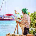 Painter At Work, Holetown Beach, Barbados by Eric Drumm