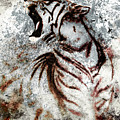 Painting Abstract Tiger Collage On Color Abstract  Background  Rust Structure Wildlife Animals by Jozef Klopacka