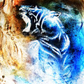 Painting Abstract Tiger Collage On Color Space Background Wildlife Animals. by Jozef Klopacka