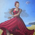 Painting Artwork Flamenco Dancing In Seville Beach  by Luigi Carlo
