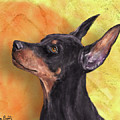 Painting Of A Cute Doberman Pinscher On Orange Background by Idan Badishi