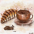 Painting Of Chocolate Delights, Pastry And Hot Cocoa by Idan Badishi