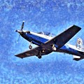 Painting Of Daedalus Demo Team Of Hellenic Air Force Flying A T-6a Texan II by George Atsametakis