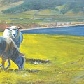 Painting Of Sheep On A Cliff Top by Mike Jory