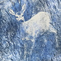 Painting Of Young Deer In Wild Landscape With High Grass. Graphic Effect. by Jozef Klopacka