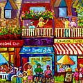 Paintings Of Plateau Mont Royal Laurier Street Shops Summer City Scenes Montreal Art Carole Spandau  by Carole Spandau