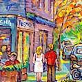 Paintings Of Verdun Landmark Restaurant Basha Lasalle Canadian Art Summer Scenes C Spandau Artist  by Carole Spandau