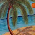 Palm Tree On The Beach by Liz Palumbo