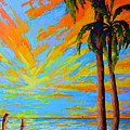 Florida Palm Trees, Tropical Beach, Colorful Sunset Painting by Patricia Awapara