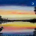 Palmetto Tree And Moon Low Country Sunset by Patricia L Davidson