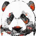 Panda Bear Art - Black White Red - By Sharon Cummings by Sharon Cummings