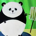 Panda Drawing Bamboo by Lael Borduin