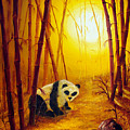 Panda In Sunset Bamboo by Laura Iverson