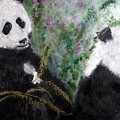 Pandas With Golden Bamboo by Michela Akers
