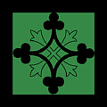 Panel - Black And Green Clover Style Greek Cross by For Licensing By Raven Marie