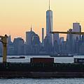 Panorama New York City Skyline With Passing Container Ship by Merijn Van der Vliet