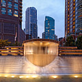 Panorama Of Centennial Fountains At Twilight Chicago River - Near North Side Chicago Illinois by Silvio Ligutti