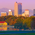 Panorama Of Denver Skyline From Museum Of Nature And Science - City Park Denver Colorado by Silvio Ligutti
