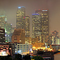 Panorama Of Downtown Los Angeles In The Fog by Wernher Krutein