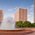 Panorama Of Gus Wortham Dandelion Fountain - Allen Parkway City Of Houston Skyline - Texas by Silvio Ligutti