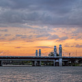 Panorama Of I-35 Jack Kultgen Highway Bridges At Sunset From The Brazos Riverwalk - Waco Texas by Silvio Ligutti