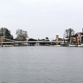 Panorama Of Marlow Bridge In Winter by Chris Day