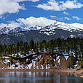 Panorama Of South Catamount Reservoir With Pike's Peak Covered I by Bridget Calip