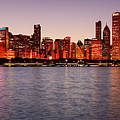 Panorama Of The Chicago Skyline At Twilight From Adler Planetarium - Chicago Illinois by Silvio Ligutti