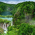 Panorama Of Turquoise Lakes And Waterfalls - A Dramatic View, Plitivice Lakes National Park Croatia by Global Light Photography - Nicole Leffer