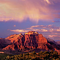 Panorama West Temple At Sunset Zion Natonal Park by Dave Welling