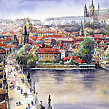 Panorama With Vltava River Charles Bridge And Prague Castle St Vit by Yuriy Shevchuk