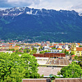 Panoramic Aerial View Of Innsbruck And Hafelekarspitze Mountain by Brch Photography