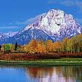 Panoramic Autumn Morning Oxbow Bend Grand Tetons National Park by Dave Welling